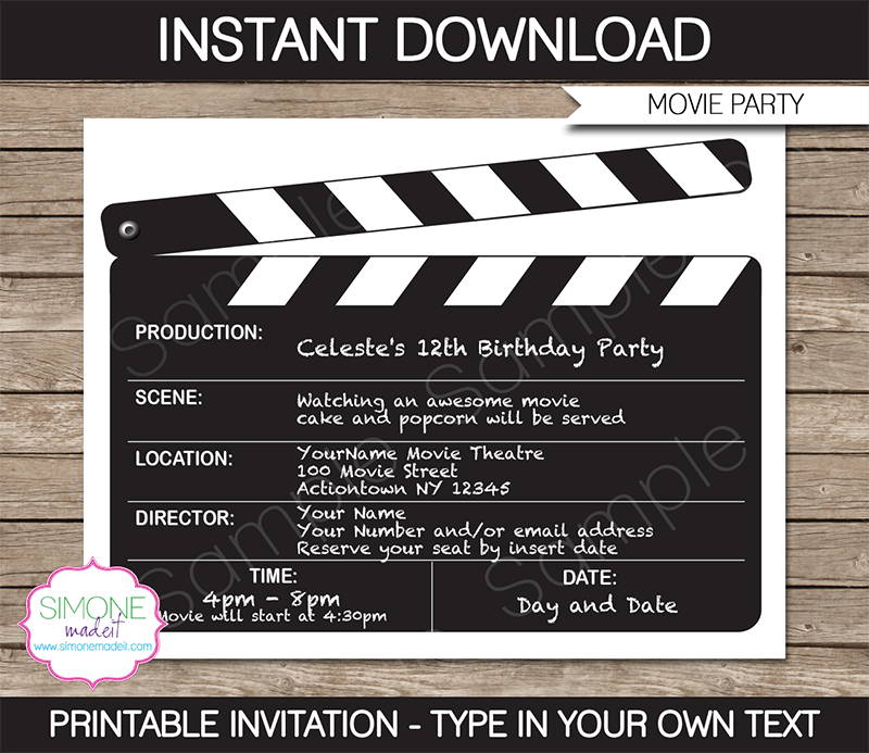 7 best images of movie night free printable template free printable movie night invitations. Black Bedroom Furniture Sets. Home Design Ideas