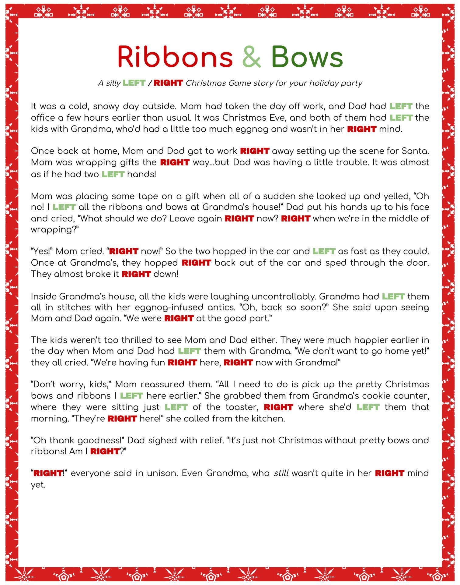 Printable Right Left Christmas Game