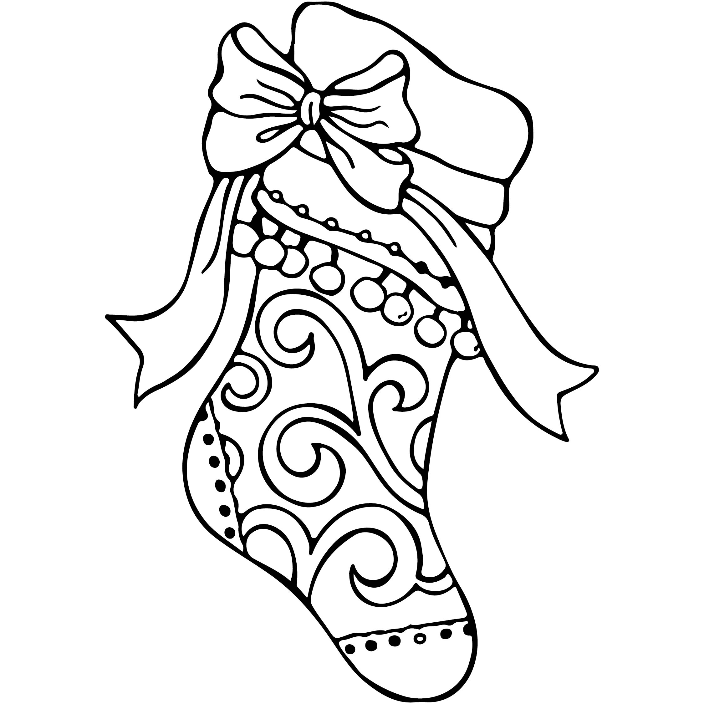 6 Best Images Of Christmas Stocking Coloring Pages