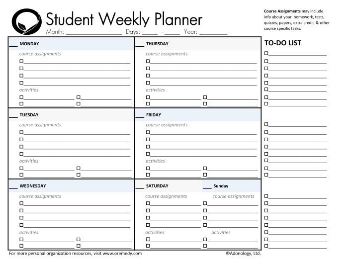 Printable Weekly Student Planner Template