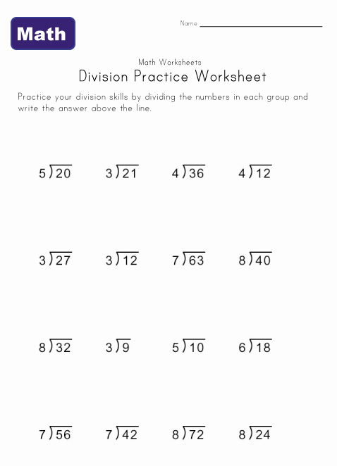 Easy Division Worksheets - Synhoff