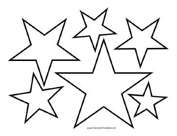 4 Images of Star Template Printable Different Sizes