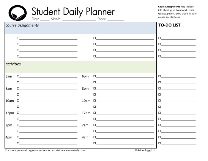 Student Daily Planner Printable