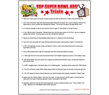 5 Images of 2016 Super Bowl Trivia Printable Games