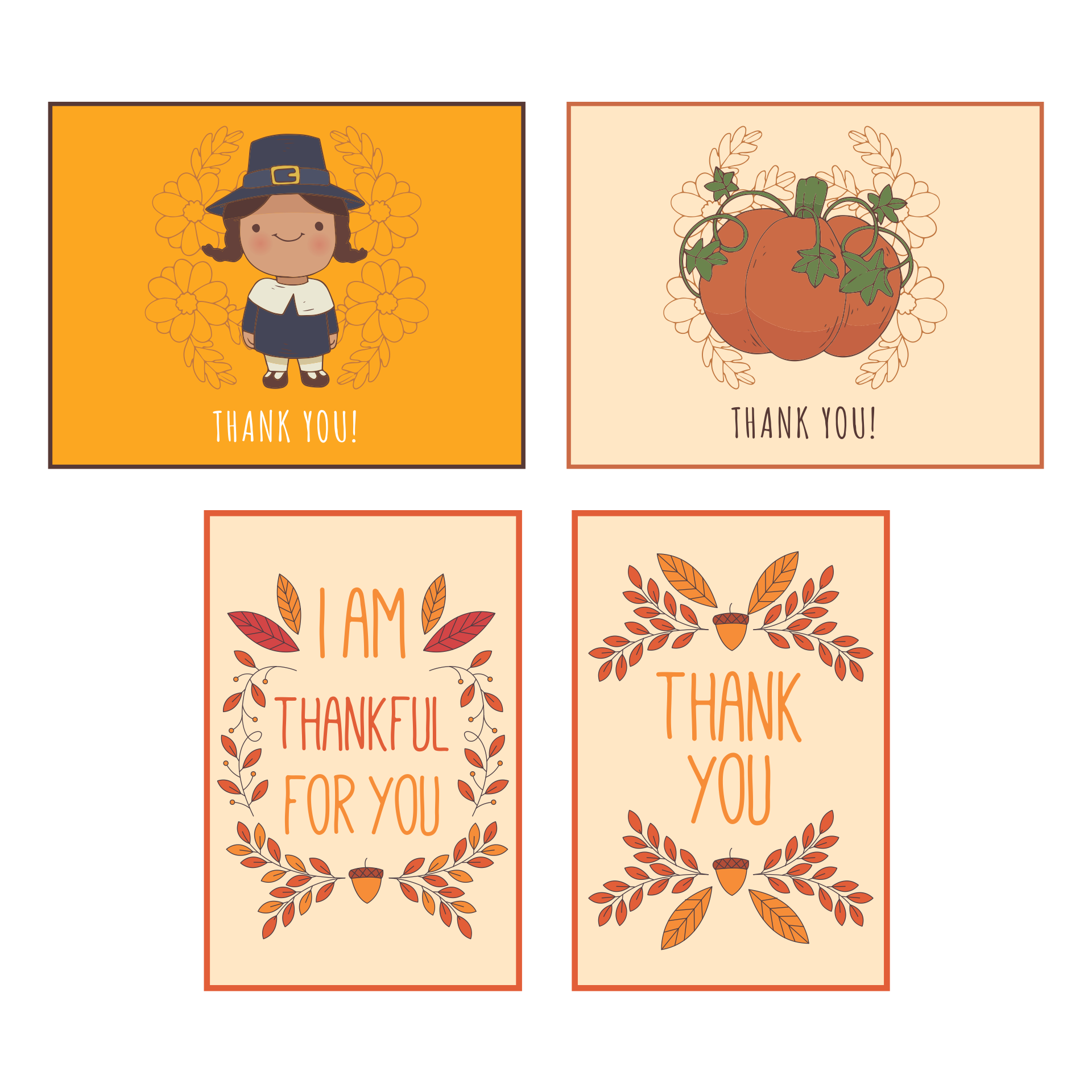 Thanksgiving Thank You Cards Printable for Kids