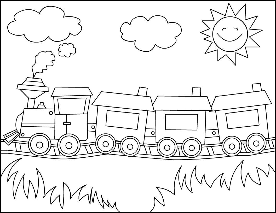 4 Images of Train Printable Coloring Pages