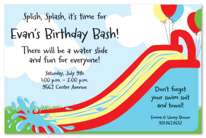 5 Images of Water Slide Party Invitation Templates Printable Free