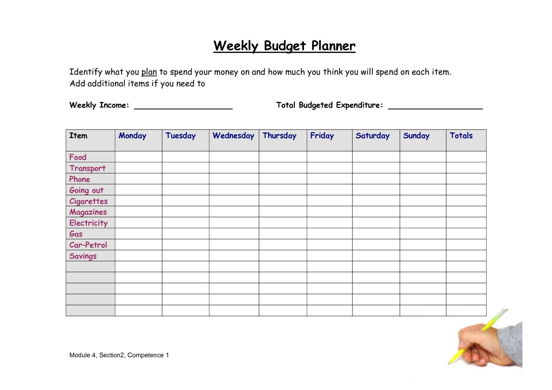 Free printable bi weekly budget spreadsheet