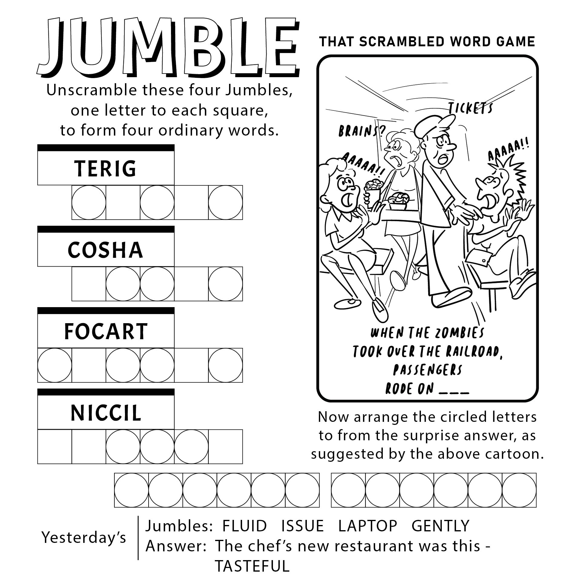 Word Jumble Puzzles to Print