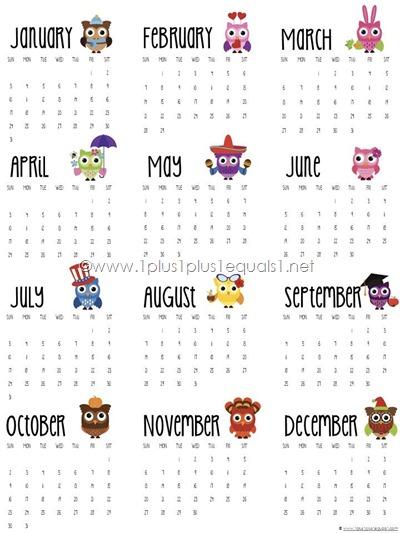 2016 Year at Glance Calendar Printable