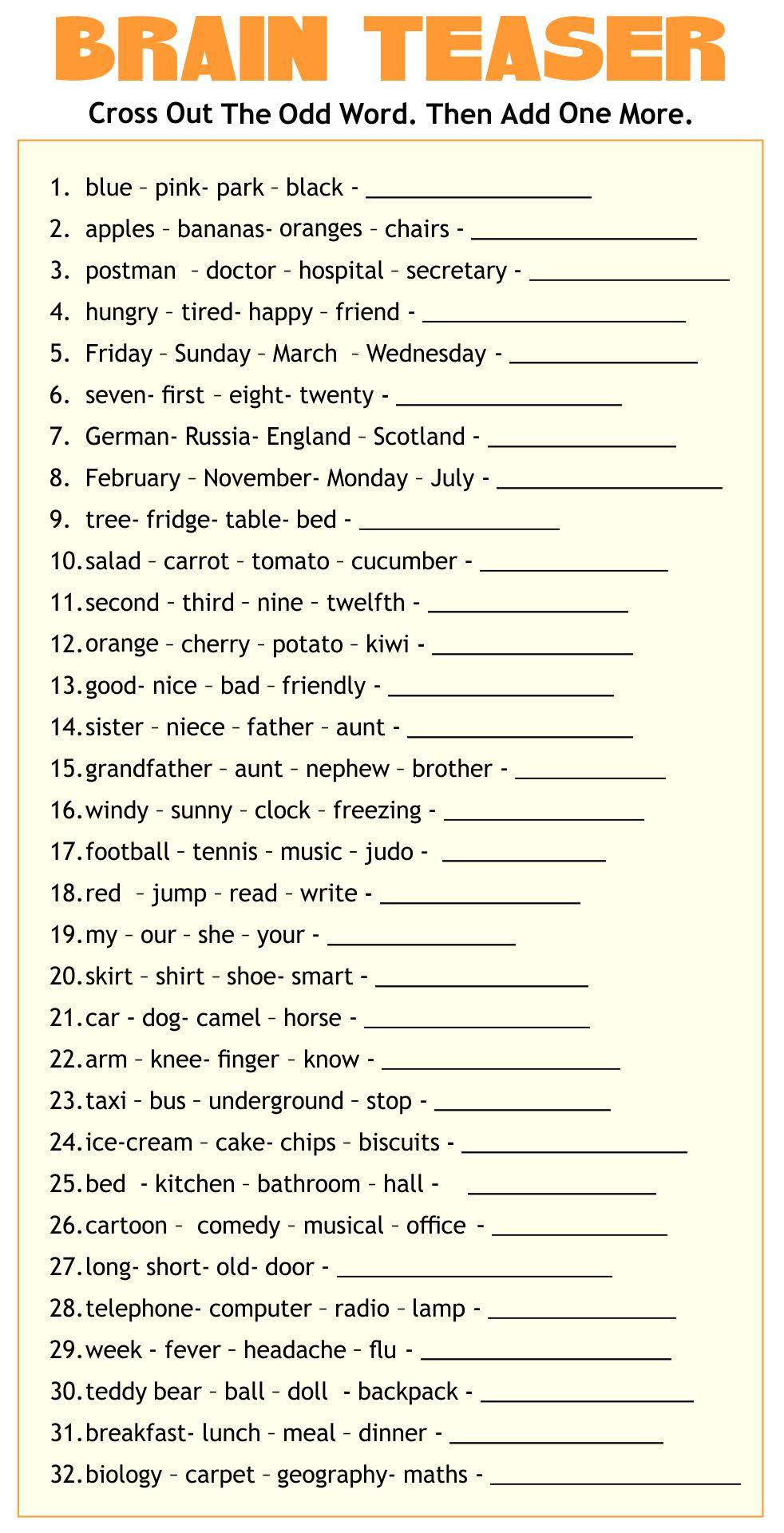 Adult Brain Teasers Worksheet