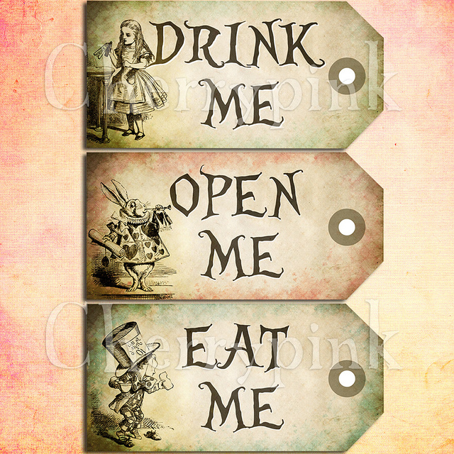 Alice in Wonderland Drink Me Tags Printable
