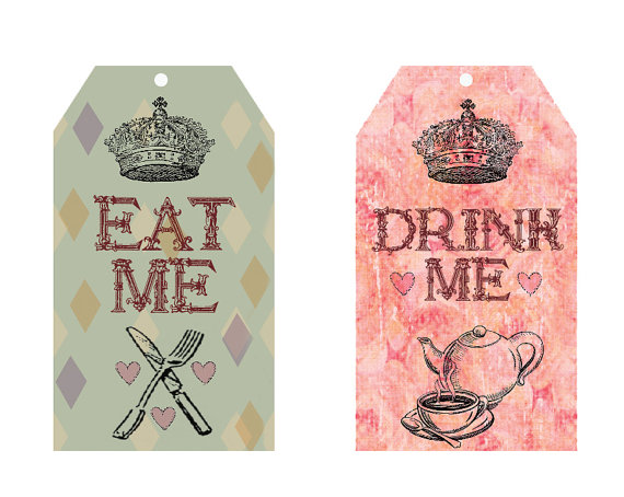 Alice in Wonderland Tea Party Food Printable Tags