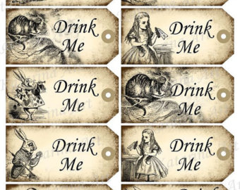 5 Images of Alice In Wonderland Drink Me Tags Printable