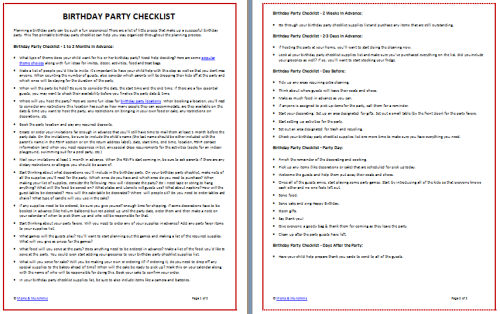Birthday Party Checklist Printable