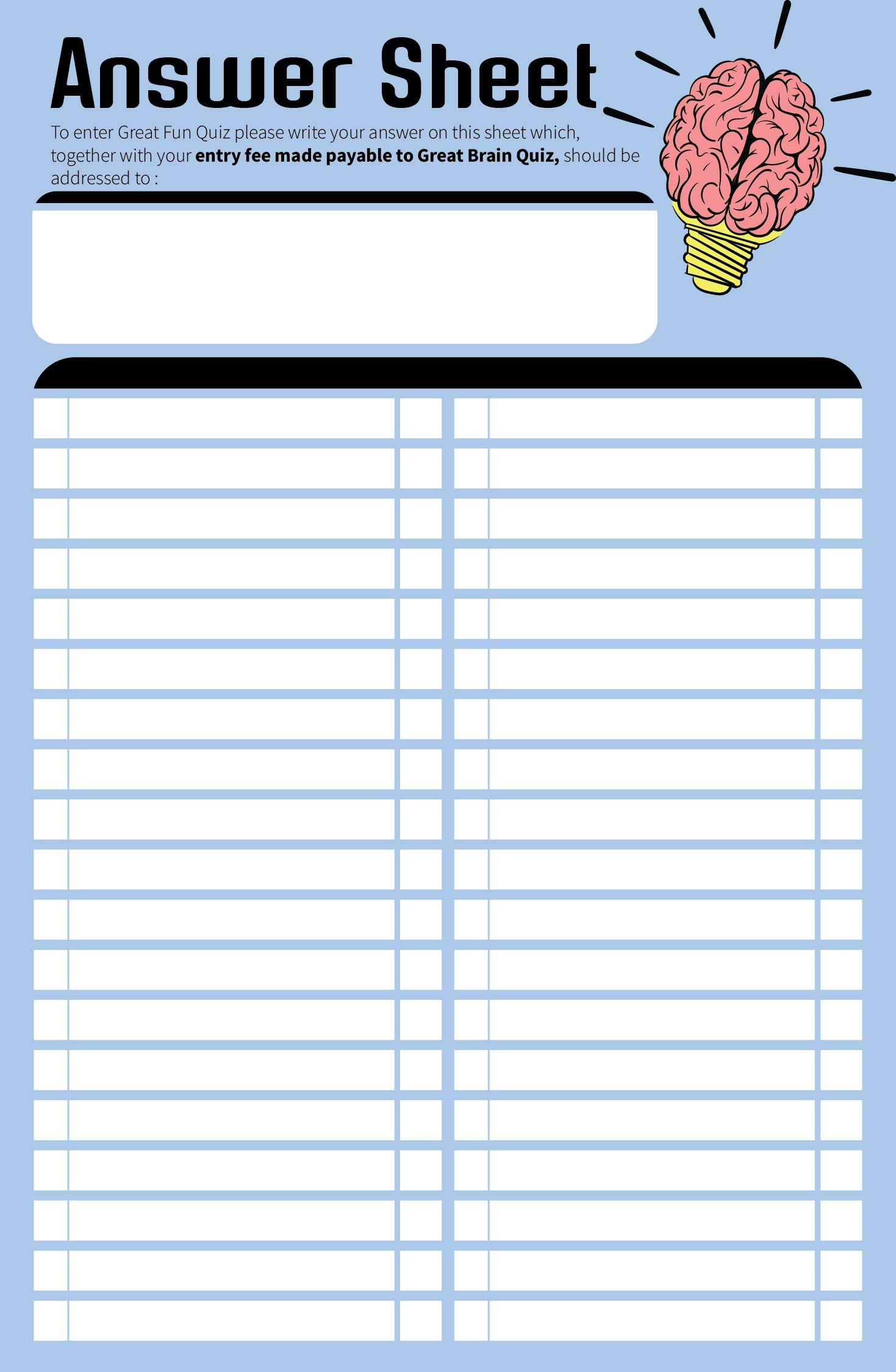 Blank Answer Sheet 1 50