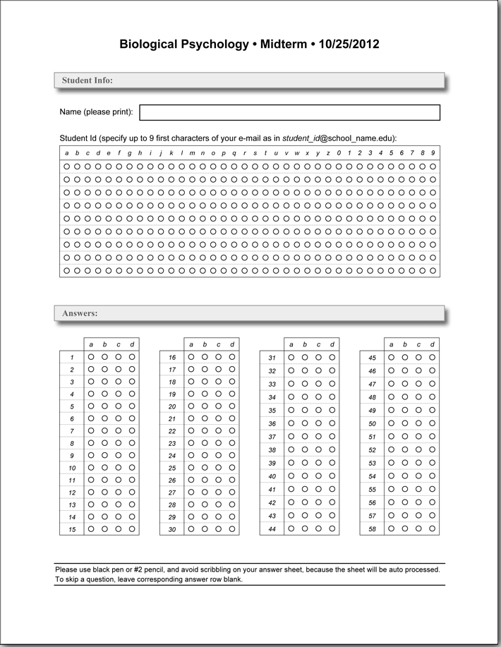 Blank Test Answer Sheet Printable