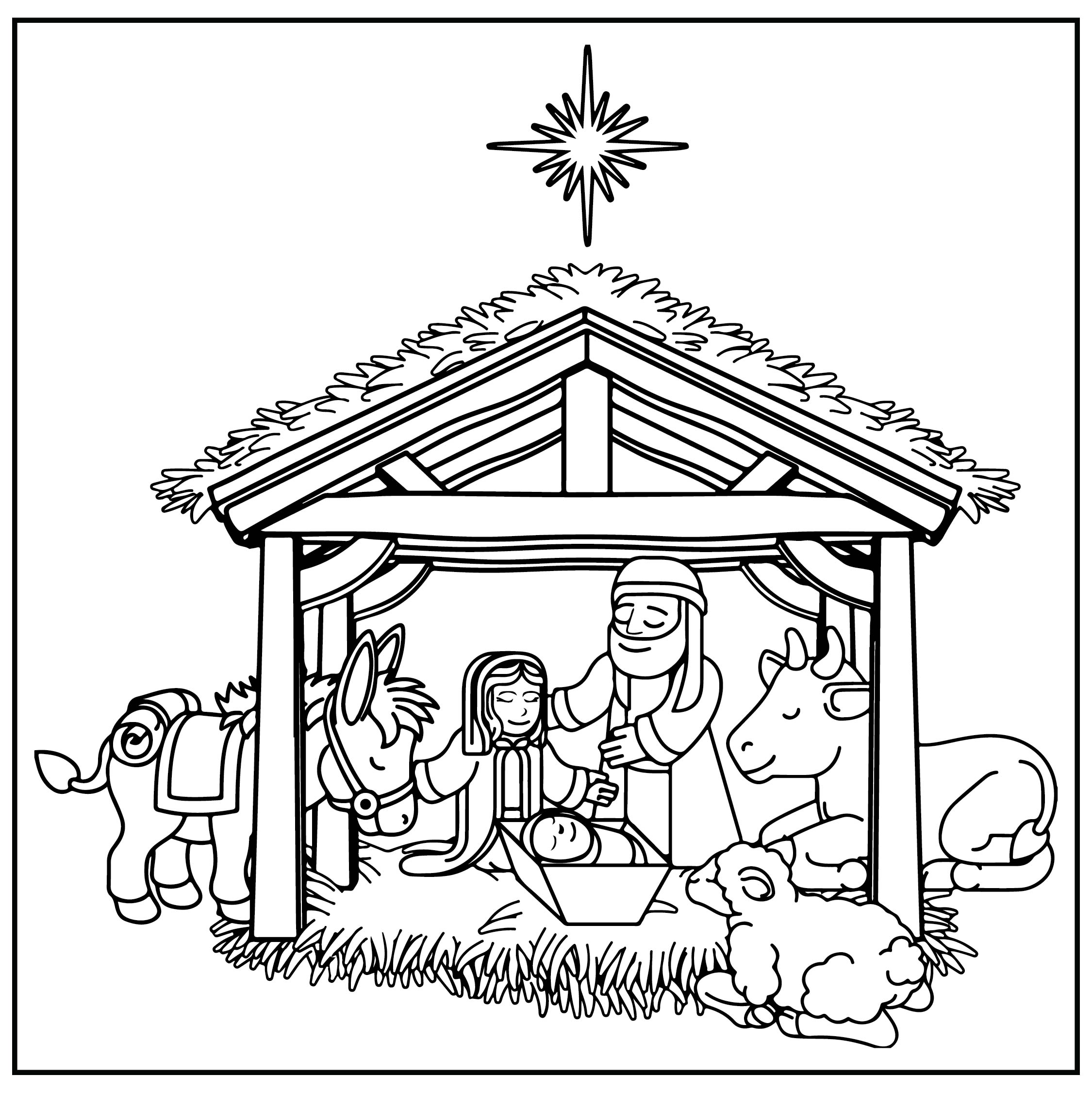 6 Images of Christmas Nativity Scene Coloring Page Printable