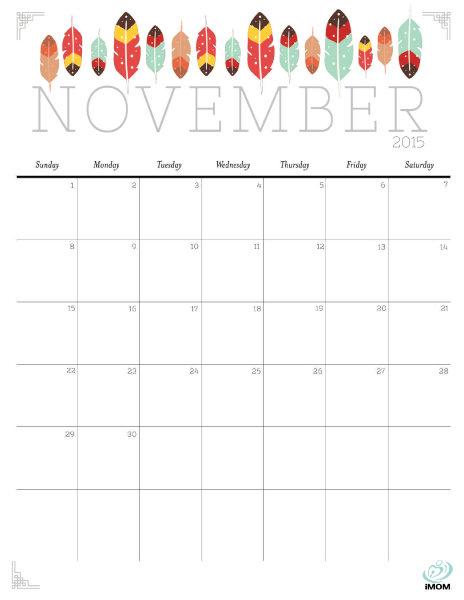 5 Images of Cute November 2015 Calendar Printable Free