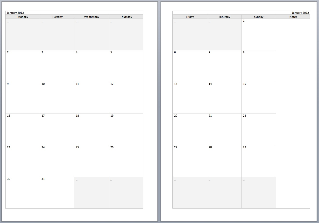 Free 2 Page Monthly Calendar Printable 2016 Template