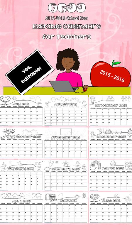 Free Editable 2015 2016 Calendar