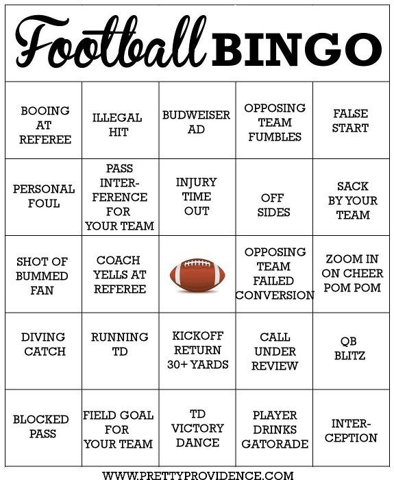 5 Images of Free Printable Football Bingo Cards