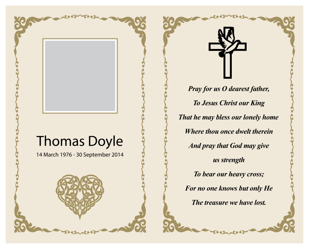 7 Best Printable Memorial Card Templates Printablee Com