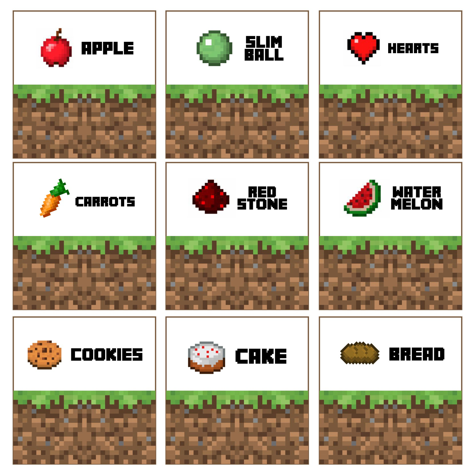 Minecraft Food Tent Cards