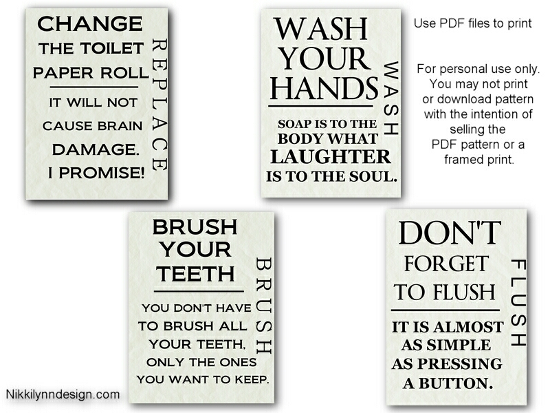 6 Images of Bathroom Sayings Free Printable