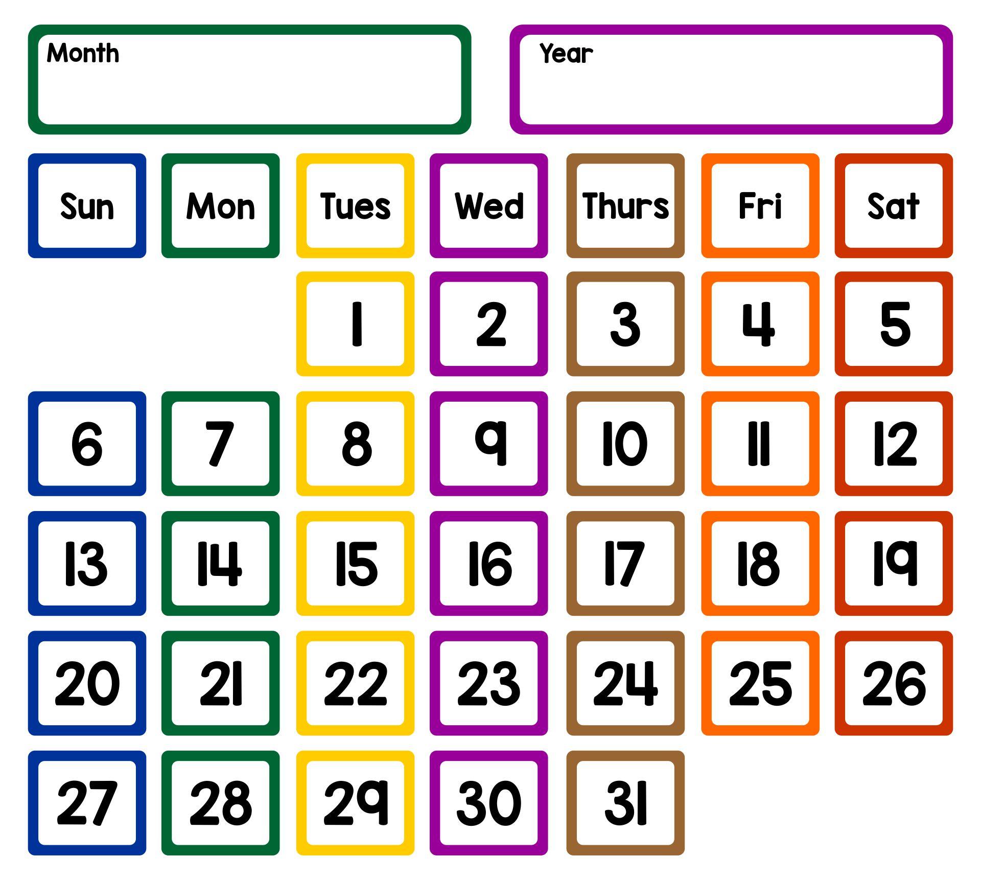 Printable Calendar Pocket Chart Cards