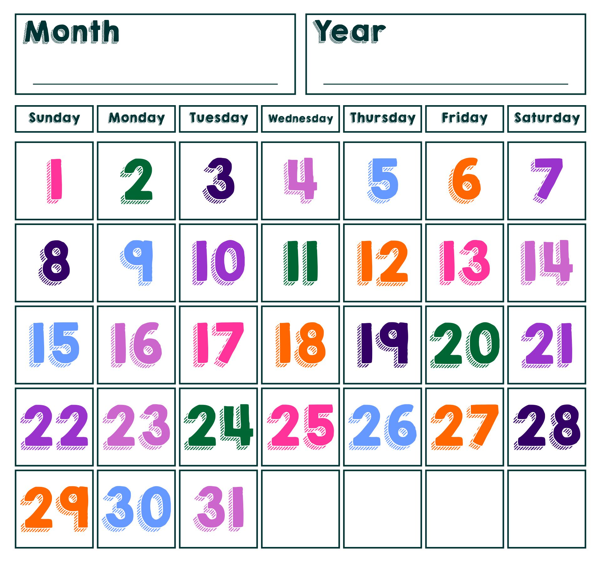 8 Images of Printable Spring Calendar Numbers