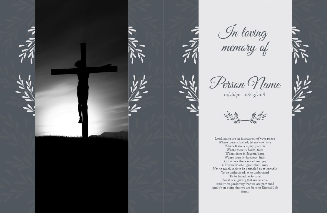 funeral memory cards free templates - 7 best images of printable memorial card templates free