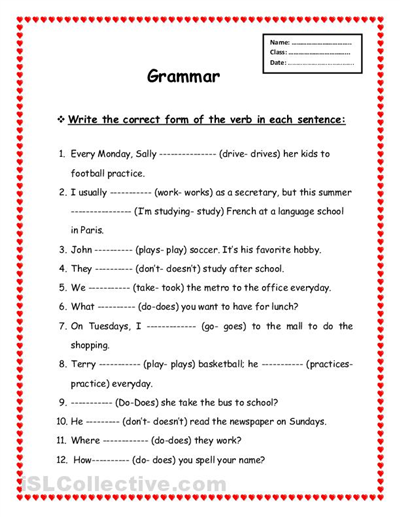 Free grammar worksheets for elementary school
