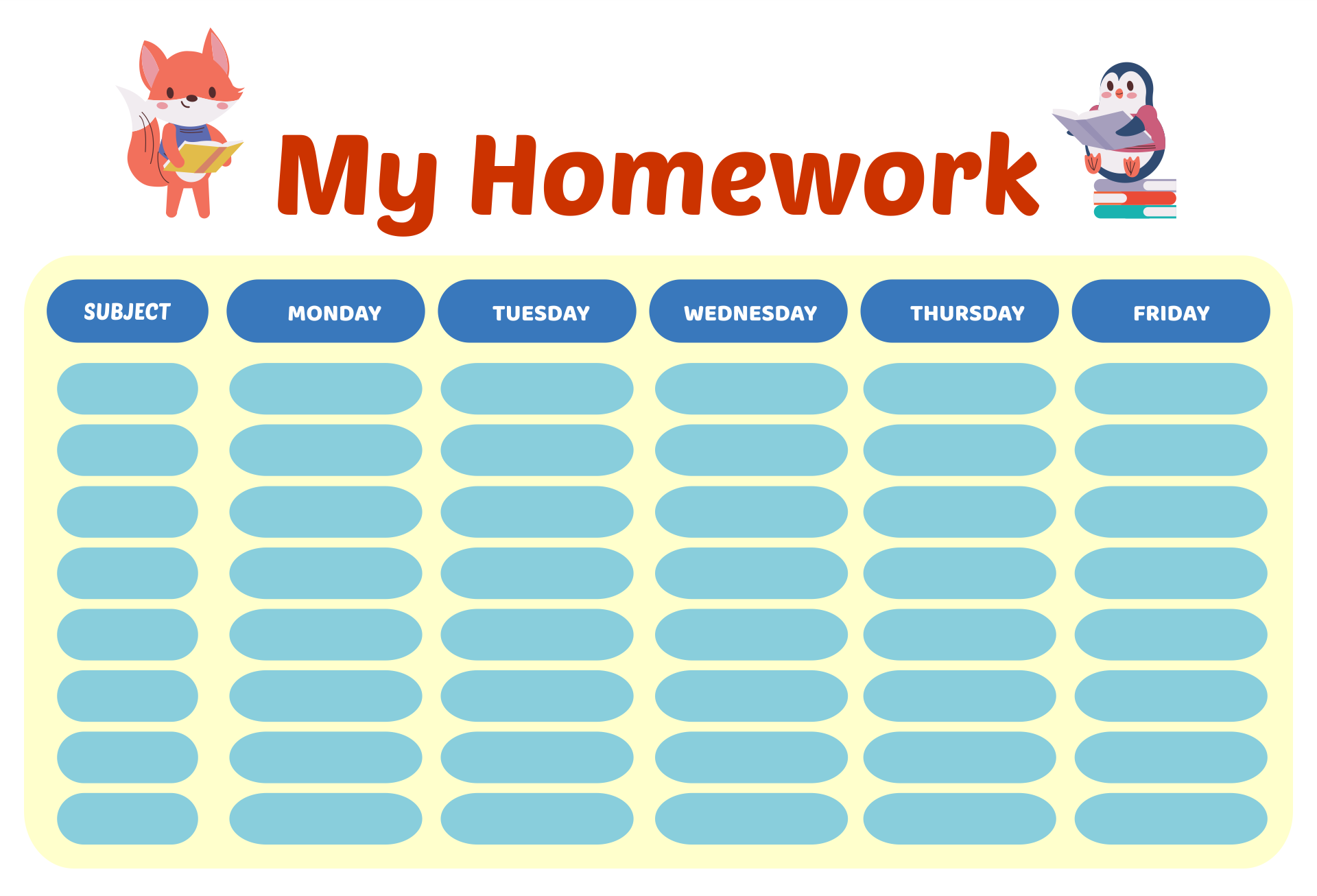 Printable Homework Charts