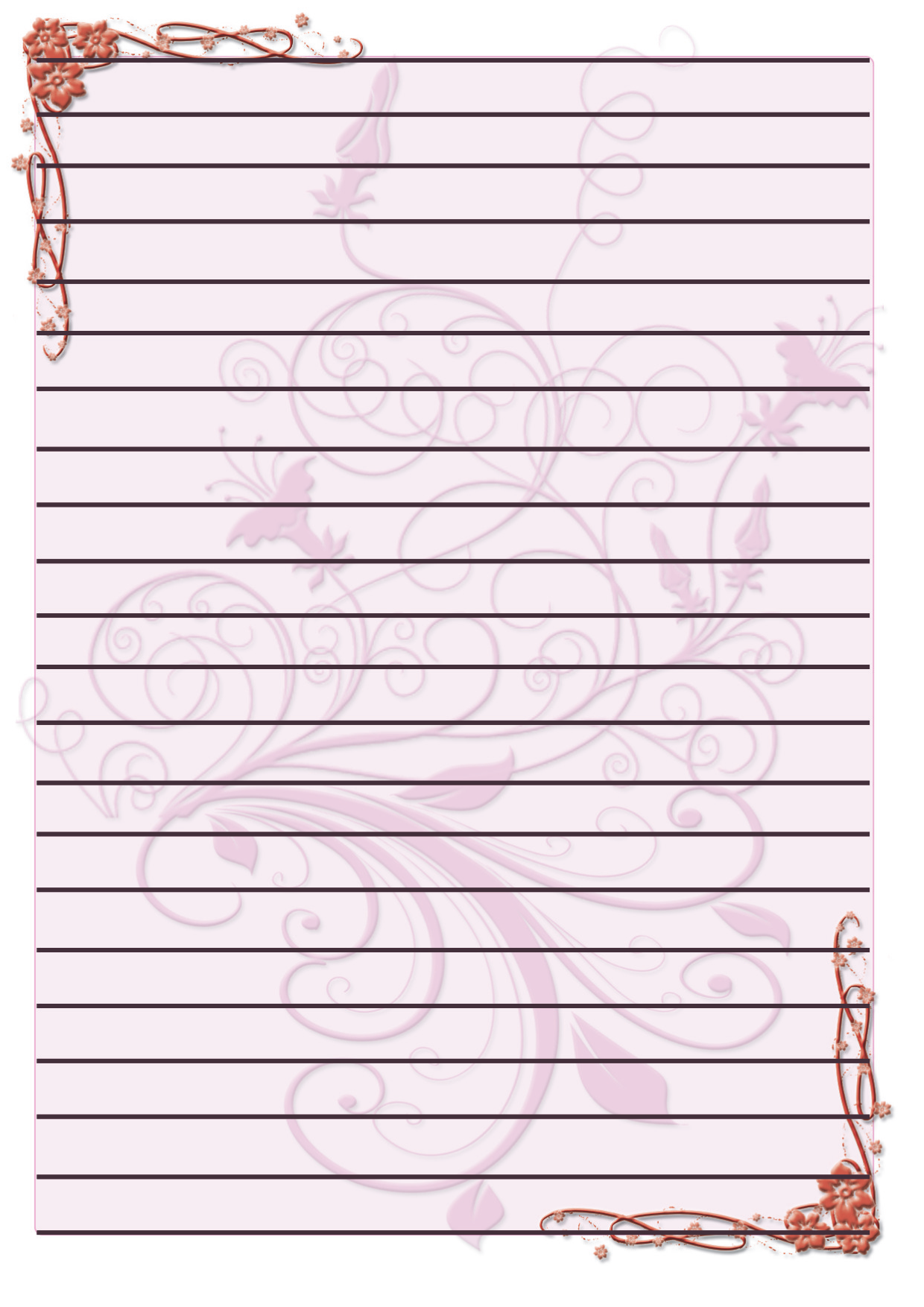 Free Printable Lined Writing Paper with Border