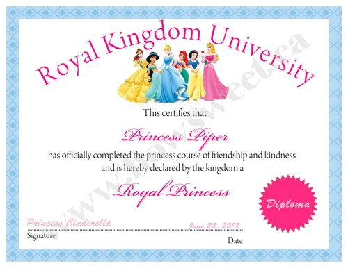 4 Images of Princess Certificate Printable
