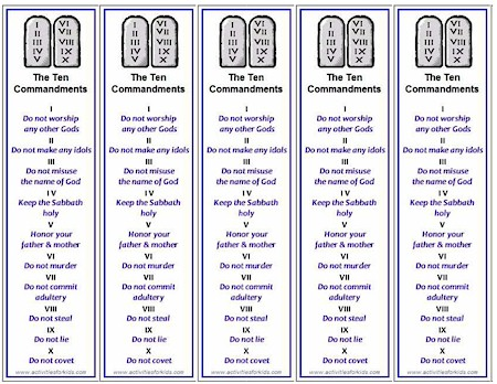 Free Printable Ten Commandments Bookmarks