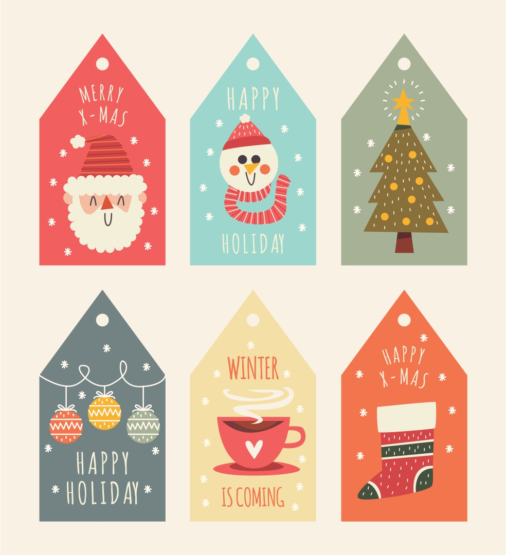 8 Images of Free Printable Vintage Christmas Labels