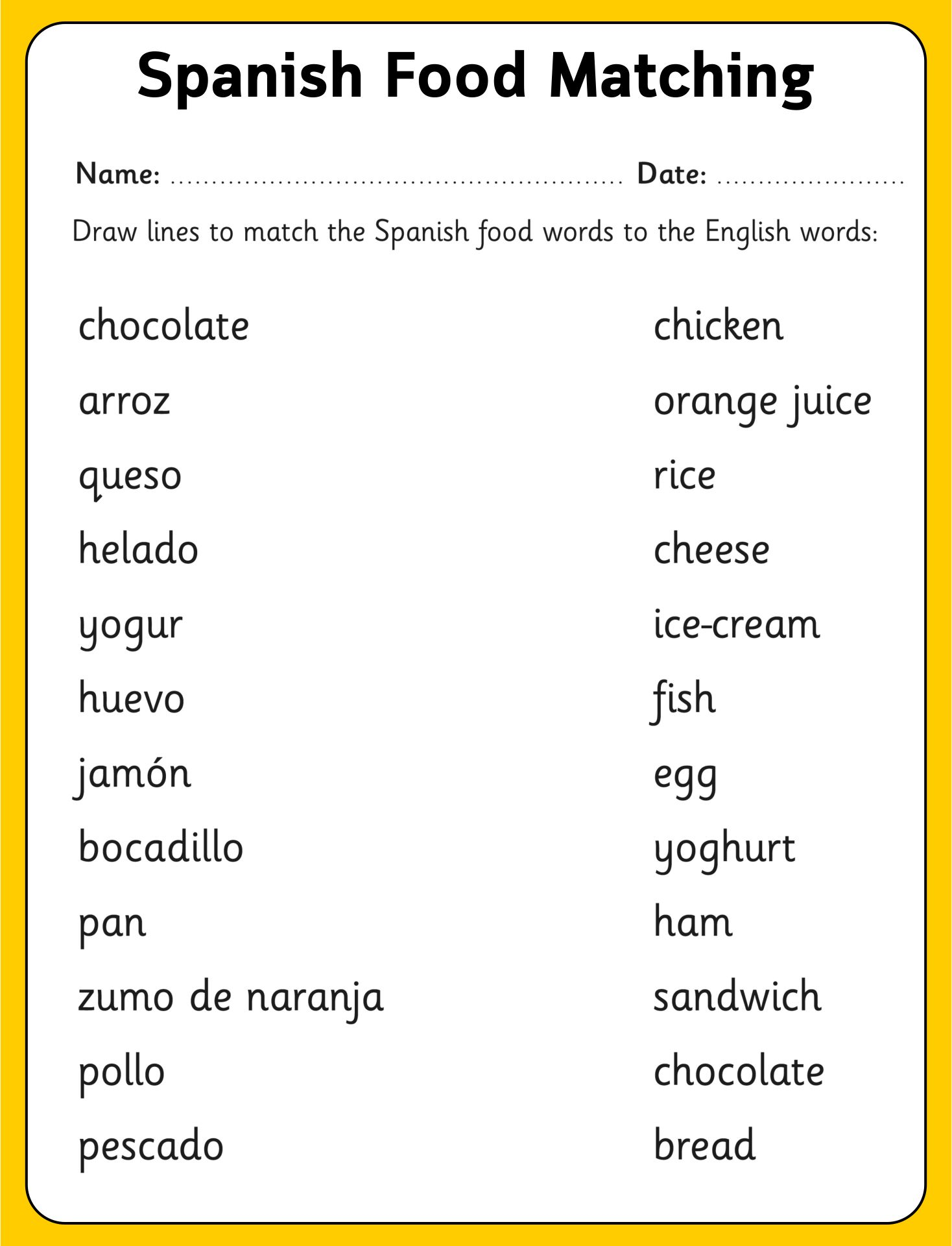 Spanish Worksheets for Adults
