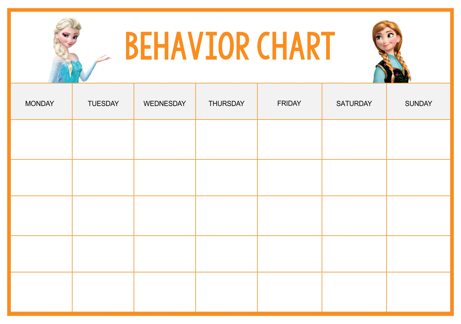 Frozen Printable Behavior Charts