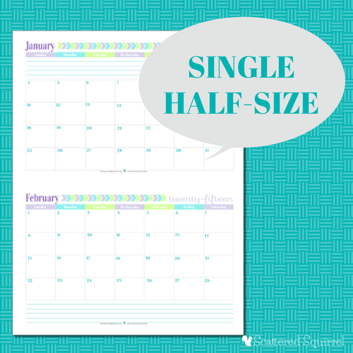 Half Page Calendar 2015