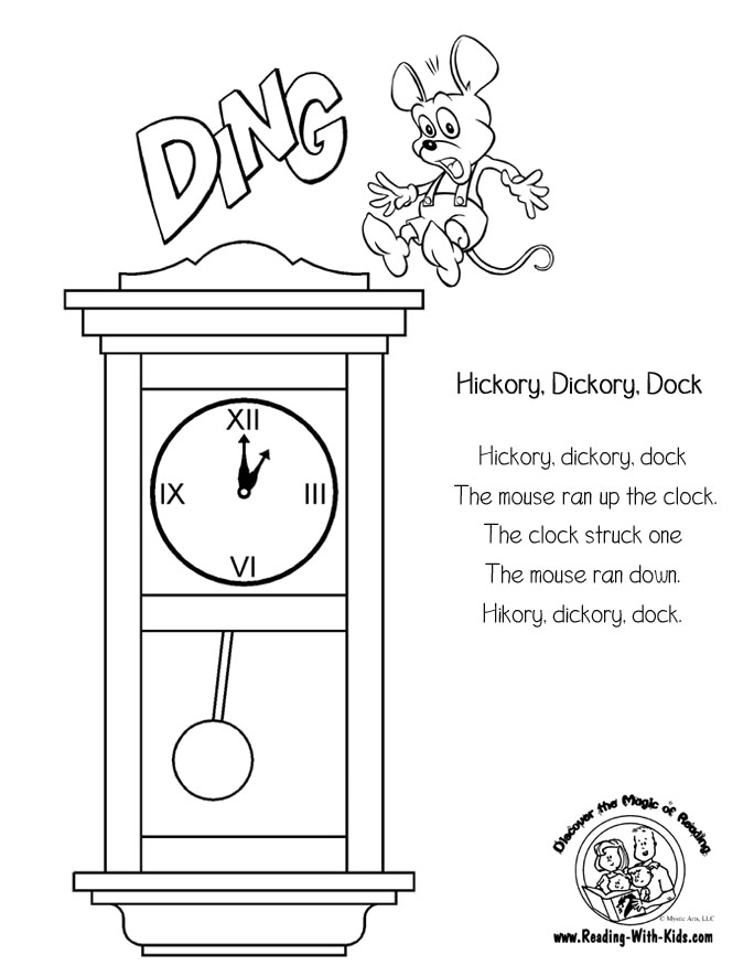 8 Images of Hickory Dickory Dock Nursery Rhyme Coloring Pages Printable