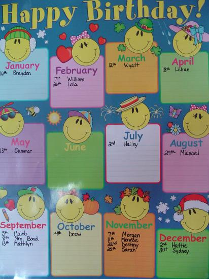 Birthday Calendar In Kindergarten : Best images of printable monthly birthday chart