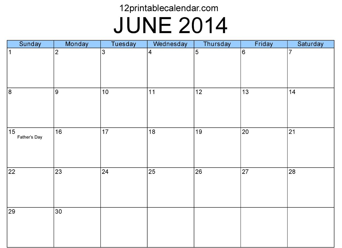 6 Images of June 2014 Calendar Printable PDF