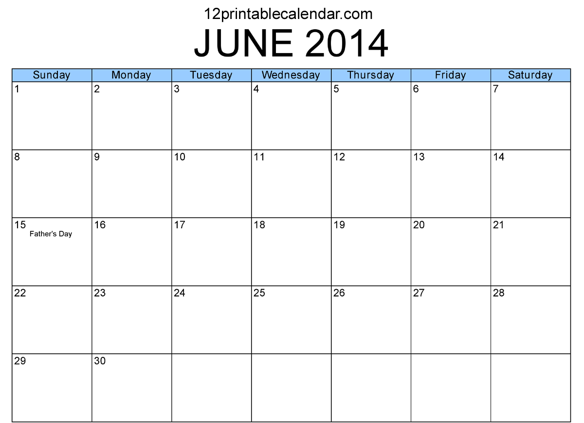 Calendar June 2014 : Best images of june calendar printable pdf