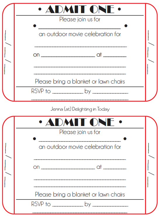 4 Images of Printable Movie Ticket Party Invitation Template