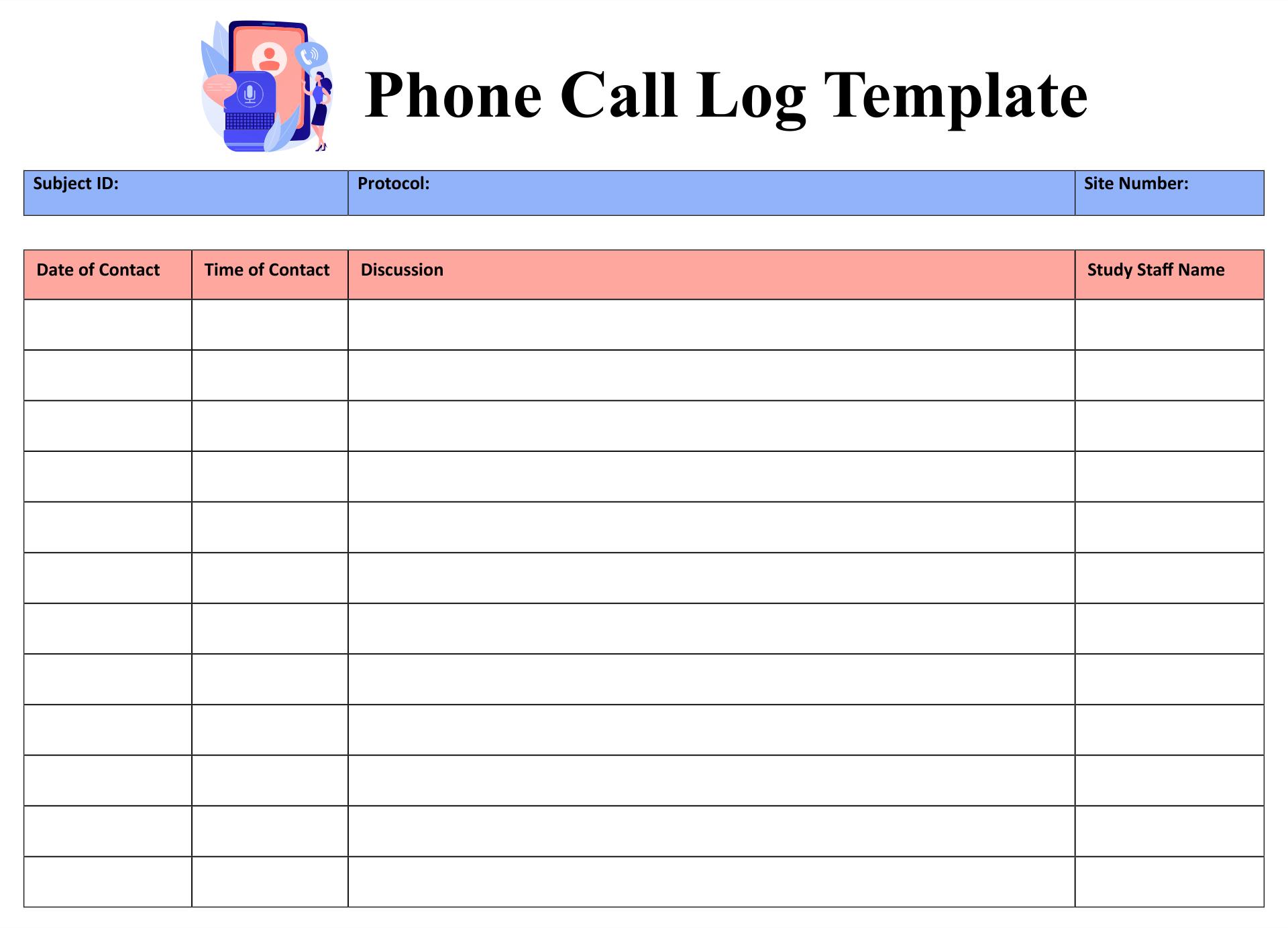 Phone Call Log Template Printable