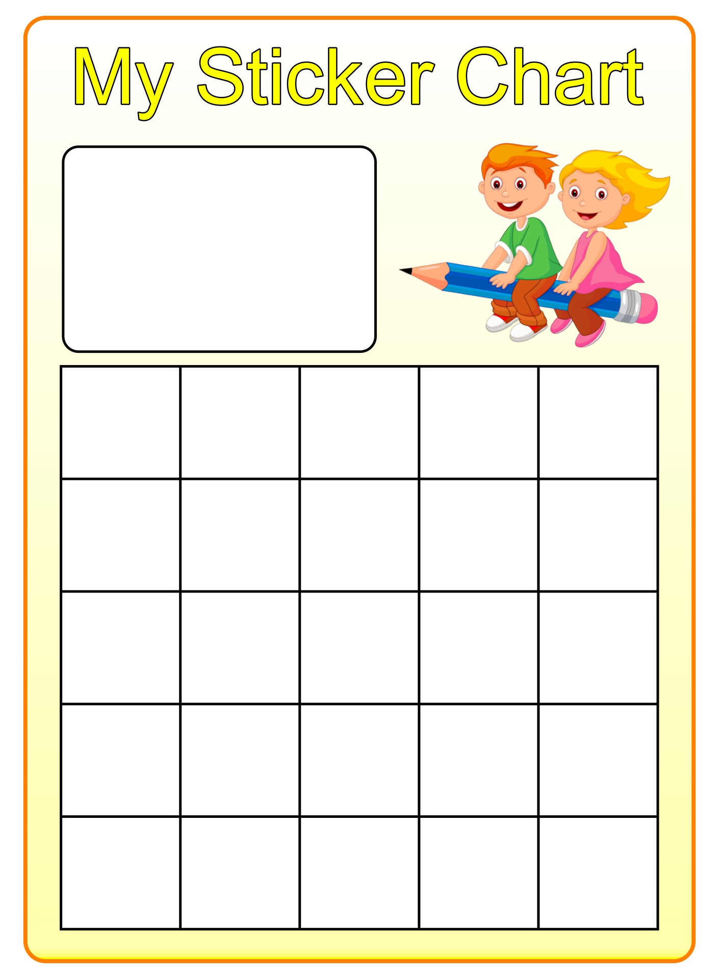 Preschool Sticker Reward Chart