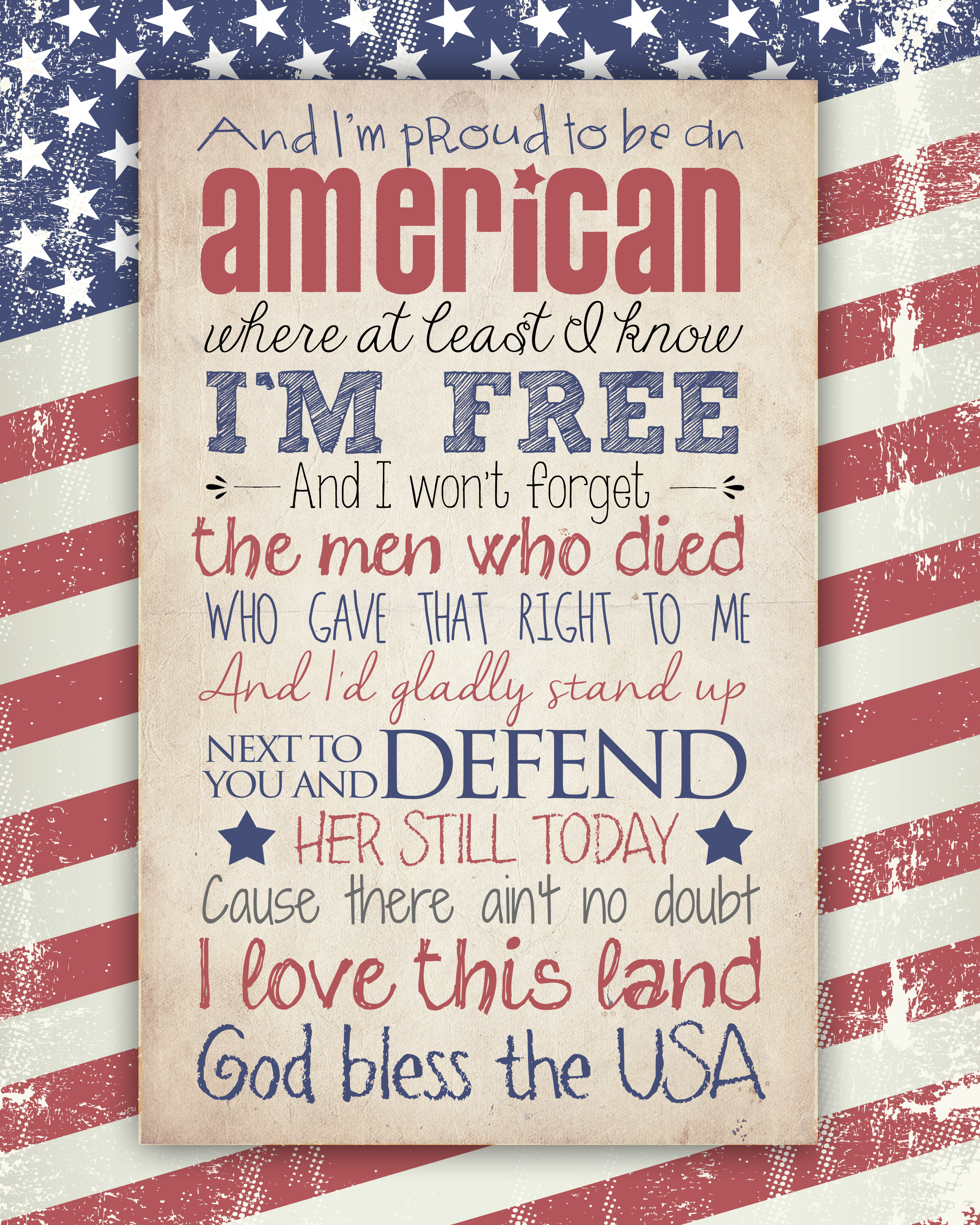 5 Images of God Bless The USA Printable