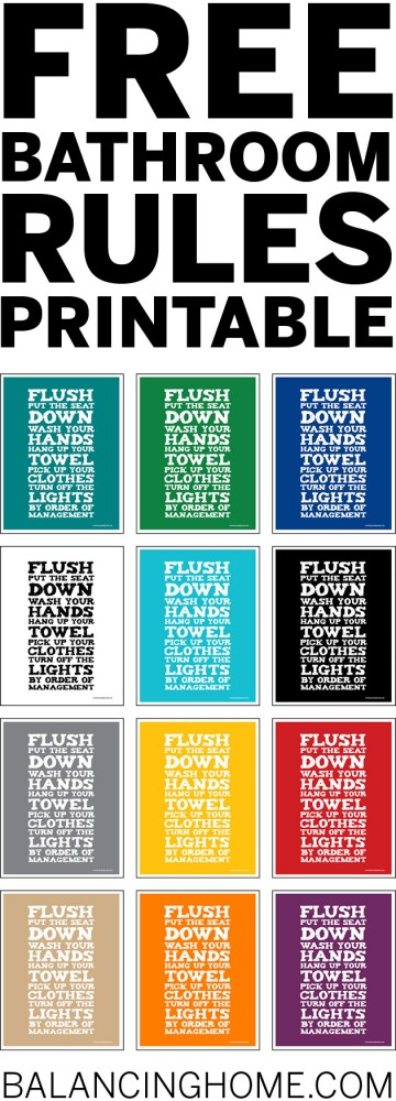 Printable Bathroom Rules